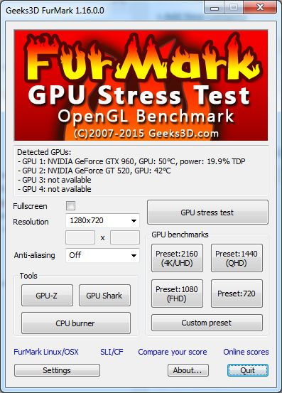 Media asset in full size related to 3dfxzone.it news item entitled as follows: GPU & Video Card Testing Tools: FurMark OpenGL Benchmark 1.16.0 | Image Name: news22876_furmark_main_user_interface_1.jpg