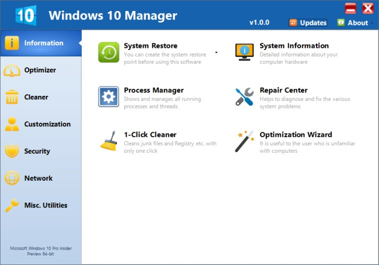 Media asset in full size related to 3dfxzone.it news item entitled as follows: Windows Tweaking & Tuning Utilities: Windows 10 Manager 1.0.4 | Image Name: news23270_Windows-10-Manager-Screenshot_1.jpg
