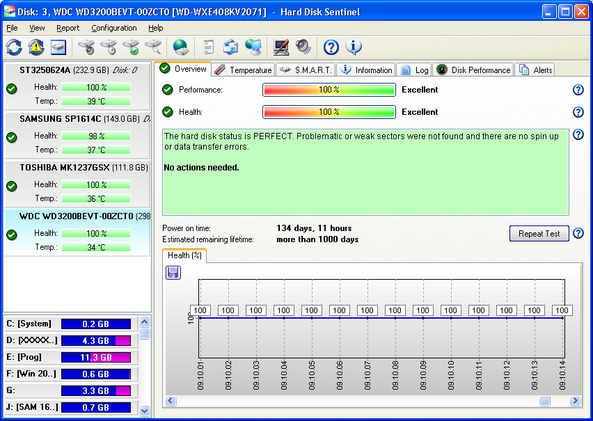 Media asset in full size related to 3dfxzone.it news item entitled as follows: HDD & SSD Monitoring Utilities: Hard Disk Sentinel 4.70.8128   Image Name: news23702_Hard-Disk-Sentinel-Screenshot_1.jpg