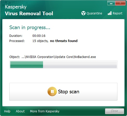 Media asset in full size related to 3dfxzone.it news item entitled as follows: Portable AntiVirus Tools: Kaspersky Virus Removal Tool 15.0.19.0 (2016.02.10) | Image Name: news25015_Kaspersky-Virus-Removal-Tool-Screenshot_1.jpg
