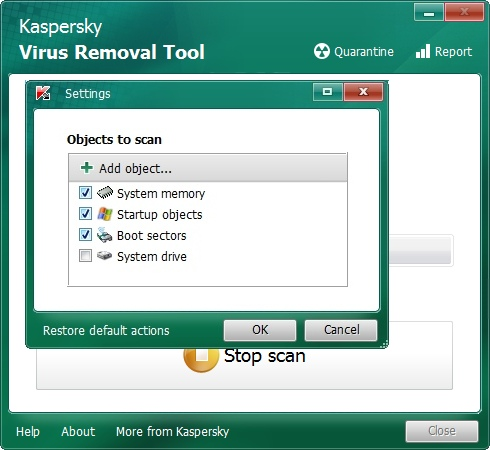 Media asset in full size related to 3dfxzone.it news item entitled as follows: Portable AntiVirus Tools: Kaspersky Virus Removal Tool 15.0.19.0 (2016.02.10) | Image Name: news25015_Kaspersky-Virus-Removal-Tool-Screenshot_2.jpg