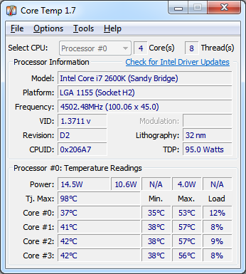 Media asset in full size related to 3dfxzone.it news item entitled as follows: CPU & APU Monitoring Utilities: Core Temp 1.7 - AMD & Intel Ready | Image Name: news26011_Core-Temp-Screenshot_1.png