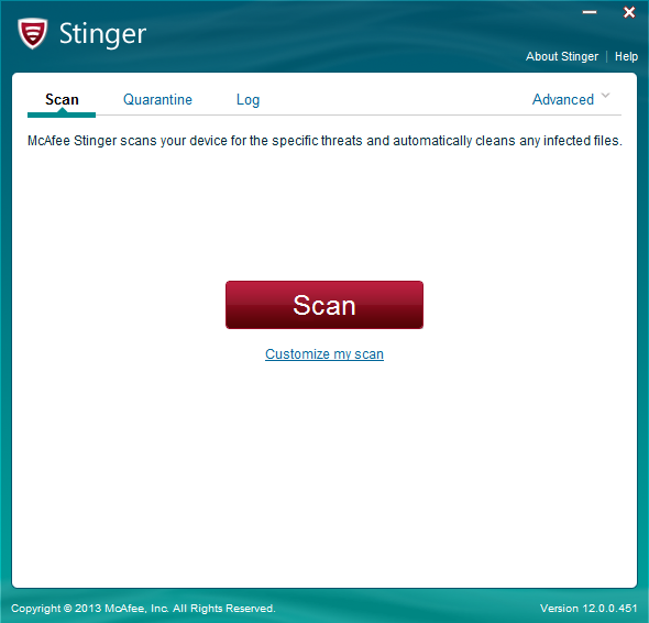 Media asset in full size related to 3dfxzone.it news item entitled as follows: Free Antivirus & Scanner Utilities: McAfee Stinger 12.1.0.2333 | Image Name: news26112_McAfee-Stinger-Screenshot_1.png
