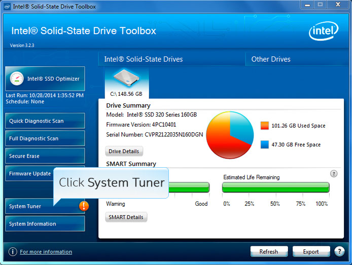 Media asset in full size related to 3dfxzone.it news item entitled as follows: Intel SSD Utilities: Intel Solid State Drive (SSD) Toolbox 3.4.6 | Image Name: news26454_Intel-Solid-State-Drive-SSD-Toolbox_1.jpeg