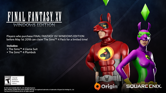 Media asset in full size related to 3dfxzone.it news item entitled as follows: Final Fantasy XV Windows Edition su Origin include i costumi di The Sims 4   Image Name: news27952_Final-Fantasy-XV-Windows-Edition-The-Sims-4_1.png