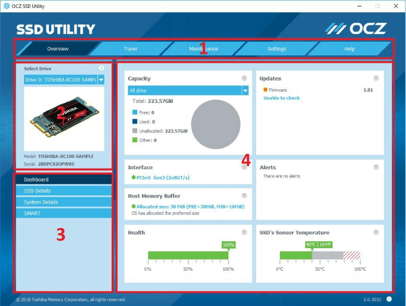 Media asset in full size related to 3dfxzone.it news item entitled as follows: SSD Management & Monitoring & Tuning Software: OCZ SSD Utility 3.1.3276 | Image Name: news28808_OCZ-SSD-Utility-Screenshot_1.jpg