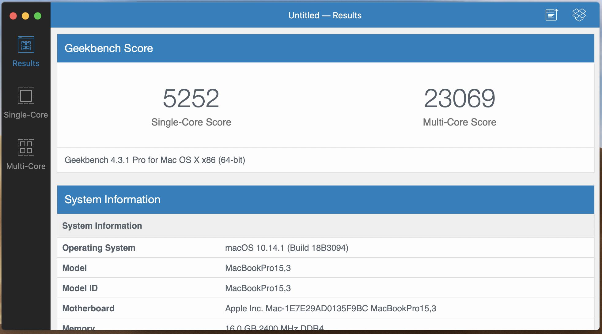 Media asset in full size related to 3dfxzone.it news item entitled as follows: Testato con Geekbench il MacBook Pro da 15-inch con GPU AMD Radeon Pro Vega 20 | Image Name: news28995_Apple-MacBook-Pro-Geekbench_2.png