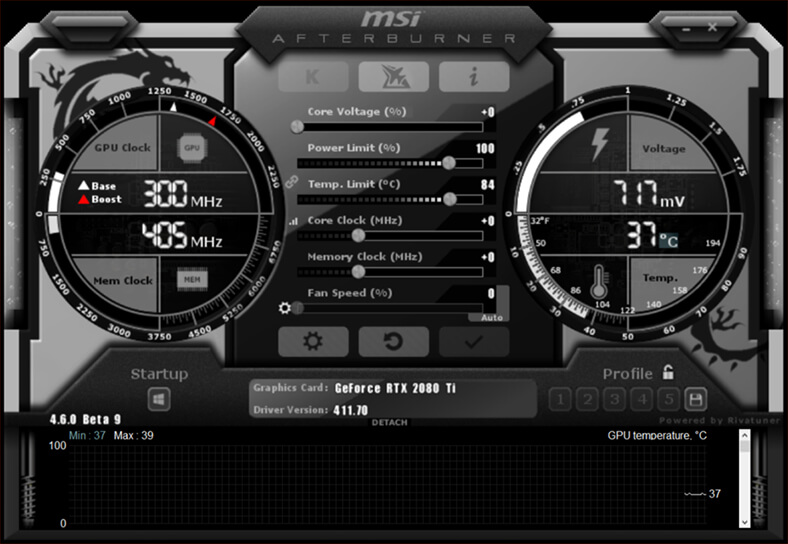 Media asset in full size related to 3dfxzone.it news item entitled as follows: GeForce & Radeon - Overclocking & Monitoring: MSI Afterburner 4.6.0 beta 16 | Image Name: news29315_msi-afterburner-interface_1.jpg