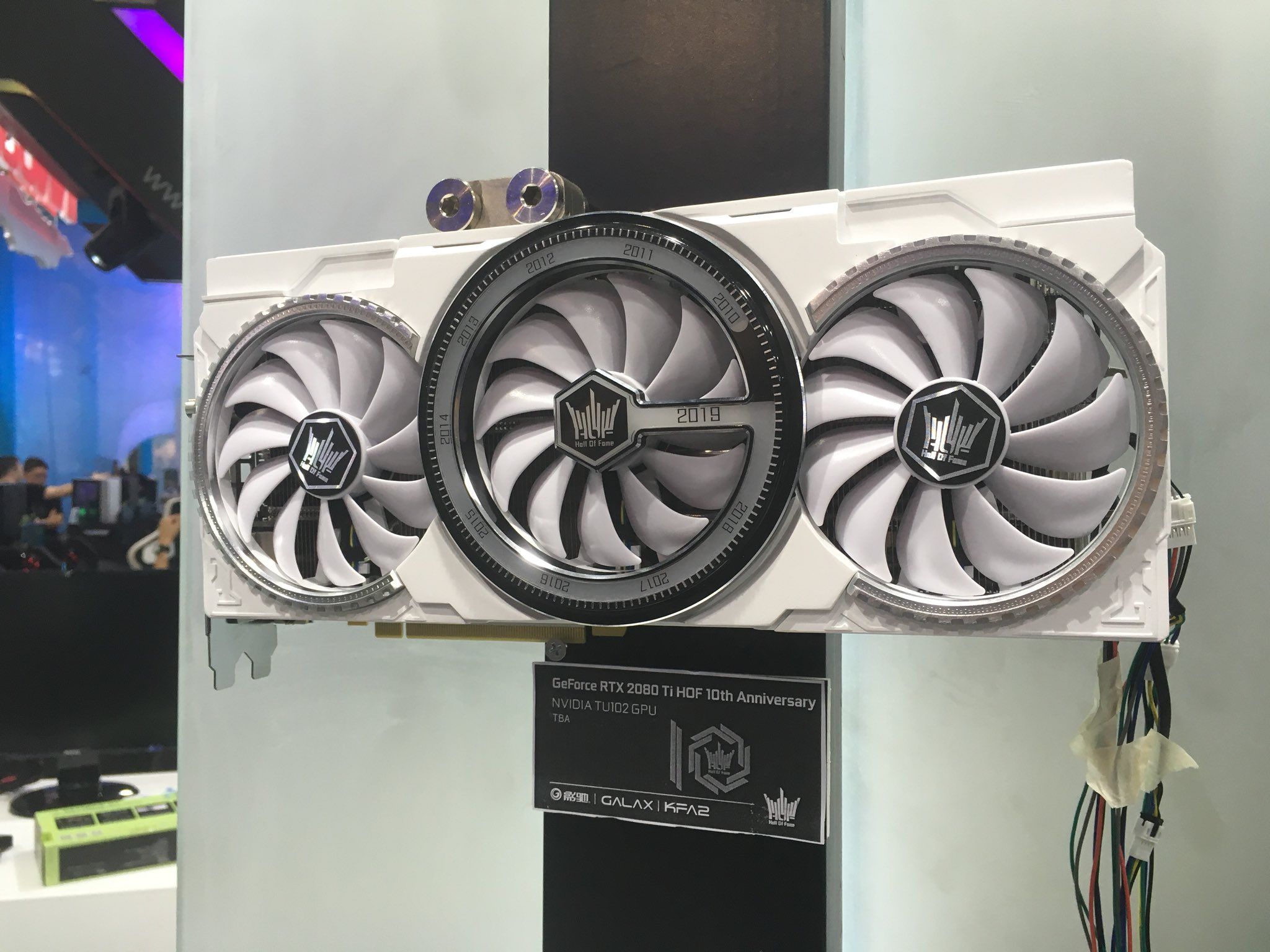 Media asset in full size related to 3dfxzone.it news item entitled as follows: Galax mostra la video card GeForce RTX 2080 Ti HOF 10th Anniversary | Image Name: news29634_Galax-GeForce-RTX-2080-Ti-HOF-10th-Anniversary_1.jpg