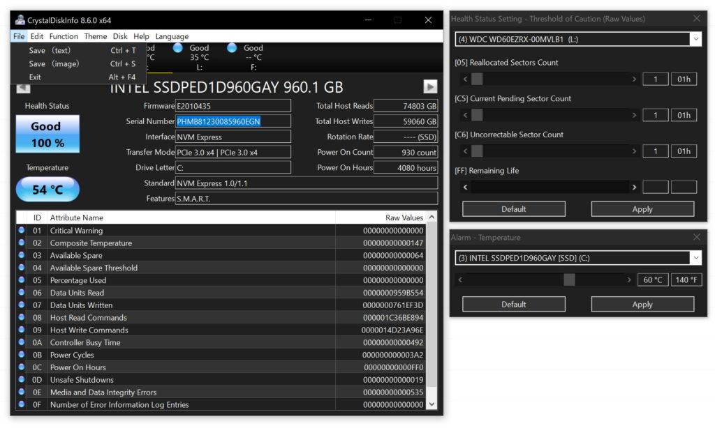 Media asset in full size related to 3dfxzone.it news item entitled as follows: HDD & SSD Monitoring Utilities: CrystalDiskInfo 8.6.0 - Windows 10 Dark Mode | Image Name: news30835_CrystalDiskInfo-Screenshot_1.jpg