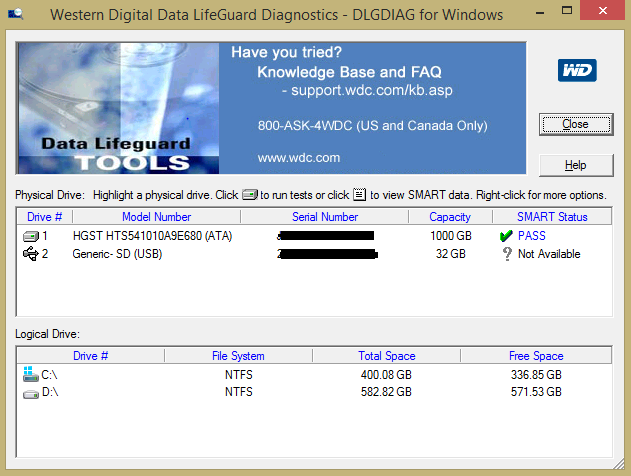 Media asset in full size related to 3dfxzone.it news item entitled as follows: HDD & SSD Tools: Western Digital Data Lifeguard Diagnostic per Windows 1.37   Image Name: news31057_Western-Digital-Data-Lifeguard-Diagnostic-Screenshot_1.png