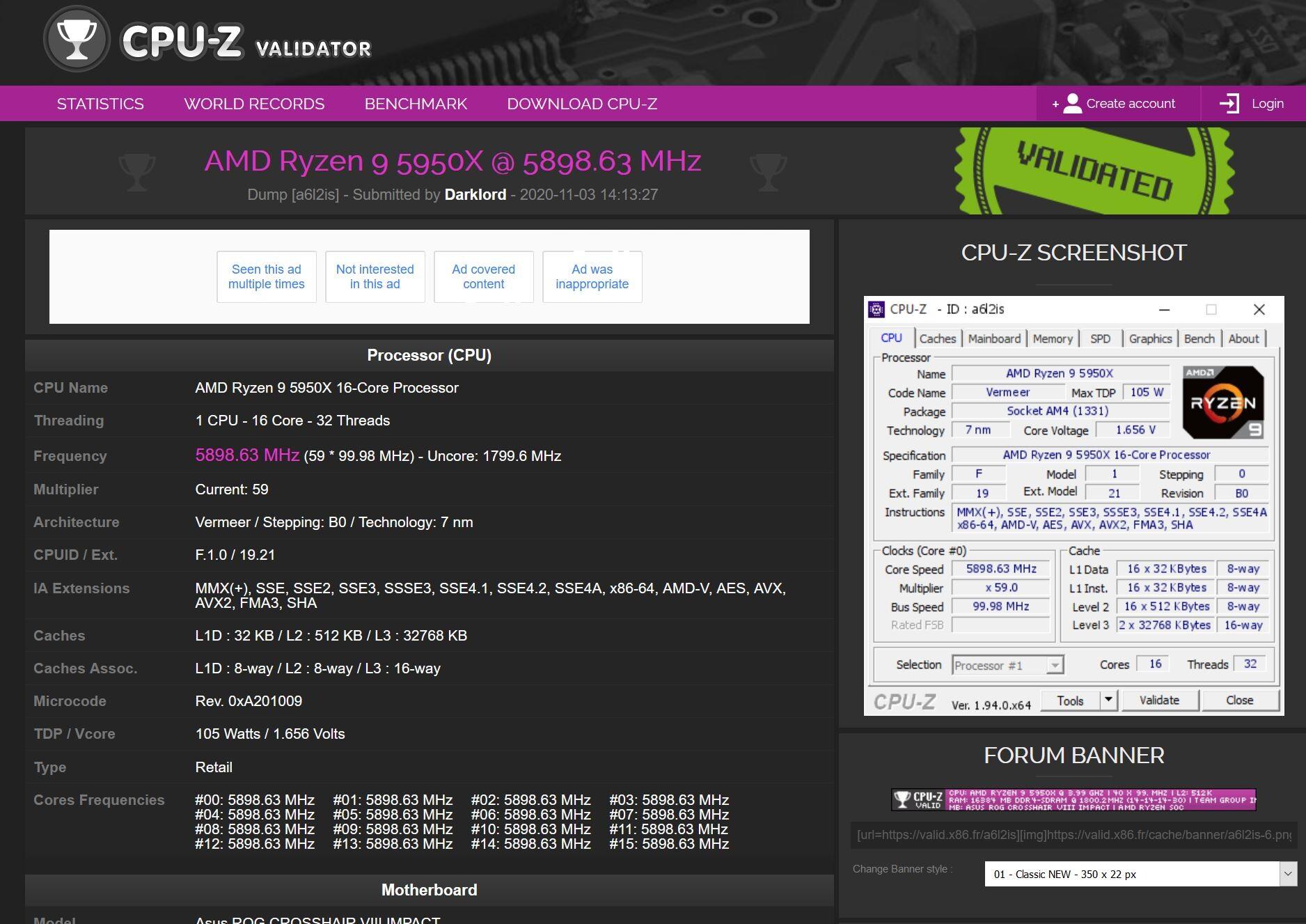 Media asset in full size related to 3dfxzone.it news item entitled as follows: Extreme Overclock: la CPU AMD Ryzen 9 5950X spinta fino alla soglia dei 5.9GHz | Image Name: news31292_Ryzen-9-5950X-CPU-Z-Validator_1.jpg