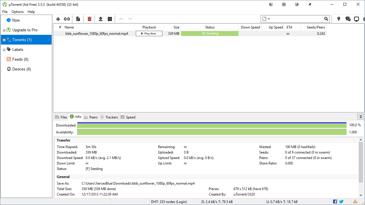 Media asset in full size related to 3dfxzone.it news item entitled as follows: File Sharing & Bittorrent Client Utilities: µTorrent 3.5.5 build 45966   Image Name: news31899_uTorrent-Screenshot_1.png