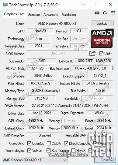 Media asset in full size related to 3dfxzone.it news item entitled as follows: E' già tempo di screenshot di GPU-Z con le Radeon RX 6600 XT e Radeon RX 6600 | Image Name: news32057_GPU-Z-Radeon-RX-6600-XT-Screenshot_1.png